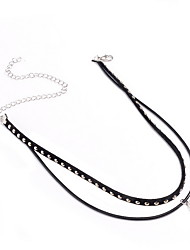 Women's Choker Necklaces Imitation Pearl Pearl Imitation Pearl Leather Alloy Jewelry Fashion Personalized Euramerican Black JewelryDaily