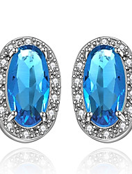 Boucles d'oreille goujon Aigue-marine Cristal Zircon cubique Cristal Zircon Cuivre Plaqué or Imitation de diamant Bijoux de Luxe Goutte