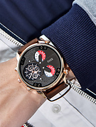 Men's Dress Watch Fashion Watch Wrist watch Quartz Large Dial Leather Band Vintage Cool Casual Black Brown Black Brown