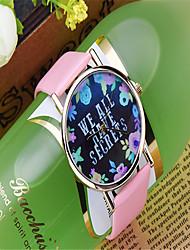 Модные часы Кварцевый Кожа Группа С подвесками Повседневная Часы с текстом Черный Белый Коричневый Зеленый Розовый