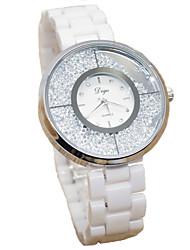 Women's Fashion Watch Quartz Imitation Diamond Ceramic Band White Brand