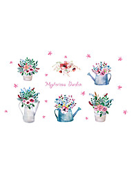 Wall Stickers Wall Decals Style Beautiful Hand-painted Flowers Potted Landscape PVC Wall Stickers