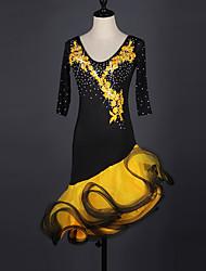 Latin Dance Dresses Women's Performance Spandex Organza Crystals/Rhinestones 1 Piece Half Sleeve Dress