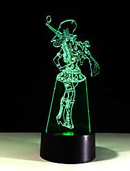 1шт сенсорный 7-цветная девочка светодиодные лампы 3d светлого цвета видение стерео красочный градиент акриловой лампы ночного видения