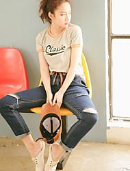 реальный стрелять большой груз 341 # 2017 новая корейская версия рыхлых джинсовые брюки упругой шнурком БФ ветер брюки коллапс