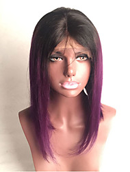 T1B Purple Virgin Human Hair Wigs With Baby Hair Silky Straight Glueless Lace Front Wigs For Black Woman Medium Brown Lace Cap