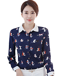Women's Shirt Collar Plus Size OL Print Cut Out Color Block Long Sleeve Chiffon Shirt
