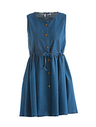 Maternity Casual/Daily Simple Loose Dress,Solid Round Neck Above Knee Sleeveless Blue Linen Summer