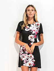 Women's Casual/Daily Street chic Sheath Dress,Solid Round Neck Above Knee Short Sleeve Polyester Black Summer Mid Rise Micro-elastic