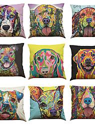 Set of 9 Watercolor Dog pattern Linen Pillowcase Sofa Home Decor Cushion Cover