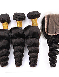 Vinsteen 8A Brazilian Virgin Hair Weft Loose Wave With Free Part Lace Closure Natural Color Hair Extensions  With Closure Curly Hair