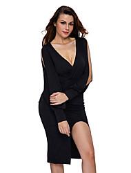 Women's Deep V Neck Ruched Bodice Slit Sleeves Midi Dress