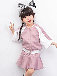 Girl Casual/Daily Sports School Solid Patchwork Sets,Cotton Polyester Spring Long Sleeve Clothing Set