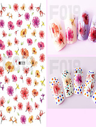 1pcs Colorful Transparent Flower Cute Personality Image Design Nail Art DIY Sticker 3D Nail Stickers Nail Art Beauty Tips F019-030