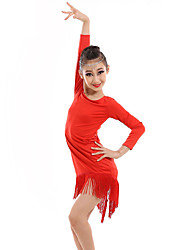 Latin Dance Dresses Children's Performance Spandex Milk Fiber Tassel(s) 1 Piece Long Sleeve Natural Dance Costume Red/Black