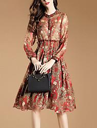 Feminino Bainha balanço Vestido, Para Noite Sofisticado Estampado Colarinho Chinês Altura dos Joelhos Manga Longa Vermelho Poliéster