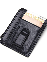 Contacts Leather Card Holder Thin Money Clip Pocket Zipper Coin Pouch Sports Casual Outdoor Shopping Card & ID Holder Cowhide Unisex
