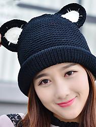 женских шерсть осенью и зимой кошки уха керлинг плюс бархат шить цвет вязаный теплый колпак