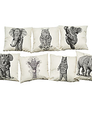 Set of 7 Abstract animal pattern Linen  Cushion Cover Home Office Sofa Square  Pillow Case Decorative Cushion Covers Pillowcases