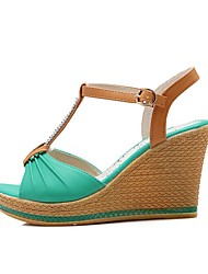 Women's Sandals Spring Summer Other PU Dress Wedge Heel Rhinestone Blue Dark Green Almond Basketball