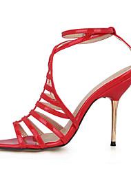 Homme-Mariage Habillé Soirée & Evénement-Noir Rouge-Talon Aiguille-Confort Light Up Chaussures-Sandales-Polyuréthane