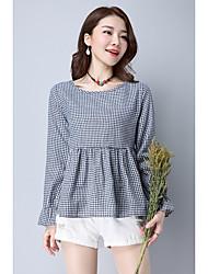 assinar 2017 Primavera novas mulheres de grande porte soltos coreano&# 39; s camisa de algodão de manga comprida xadrez wawa shan