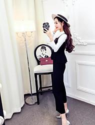 femmes Hitz mode coréenne sexy boîte de nuit mince chemise à manches longues large pantalon jambe costume automne femme