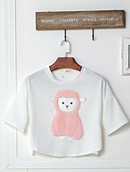 unterzeichnen 2017 Sommer-Patch gebürstet Cartoon Schafe Fledermaus Ärmel Shirt weibliche Kurzarm-T-Shirt