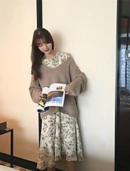 vestido de gasa de flores de primavera signo nuevo coreano de manga larga