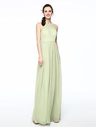 2017 Lanting Bride® Floor-length Chiffon Elegant Bridesmaid Dress - Sheath / Column Jewel with Pleats