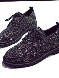 Women's Flats Spring Summer Fall Winter Creepers Novelty Glitter Office & Career Party & Evening Dress Casual Flat Heel Lace-upBlack Pink