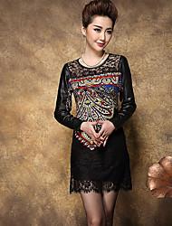 signer 2015 printemps nouvelles femmes&# 39; maman d'âge moyen grands chantiers de longue section de matériel d'impression robe creuse