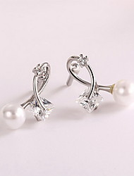 Drop Earrings / Pearl Imitation Pearl Zircon Cubic Zirconia Silver Jewelry Daily Casual 1 pair