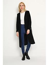 Manteau Femme,Couleur Pleine Sortie simple Manche Longues Mao Repasser à l'envers Coton Long Printemps