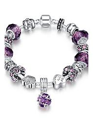 Bracelet Chaînes & Bracelets Charmes pour Bracelets Cristal Alliage Zircon Plaqué argent Forme de CoeurNaturel Amitié Mode Vintage Bohême