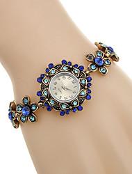 Mulheres Relógio de Moda Bracele Relógio Quartzo Strass imitação de diamante Lega Banda Flor Preta Azul Preto Azul