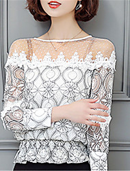 Fashion Boat Neck Long Sleeves Printing Net Yarn Strapless Upper Outer Garment Daily Leisure Party Dating Occupation OL Shirt