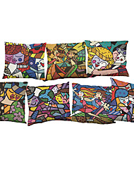 Set of 7 Romero Britto pattern Linen  Cushion Cover Home Office Sofa Square  Pillow Case Decorative Cushion Covers Pillowcases