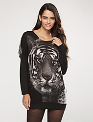Women's Tiger Print Pullover Batwing Knitwear Long Sweater