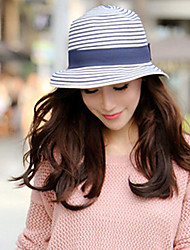 Women Fashion Straw Bucket Hat Straw Hat Sun Hat Beach Cap Casual Stripe Bowknot Summer Holiday
