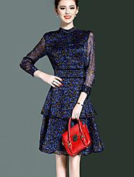 Gaine Robe Femme Sortie Grandes Tailles Chic de Rue,Imprimé Col Ras du Cou Mi-long Manches ¾ Bleu Marron Polyester Printemps EtéTaille