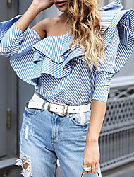 Women's Floral Patterns/Lace up Casual/Daily Simple Spring Fall Shirt,Striped Boat Neck Long Sleeve Blue Cotton Medium