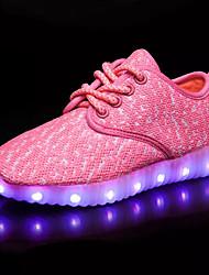 Boy's Flats Spring Fall Light Up Shoes PU Outdoor Casual Flat Heel Blue Pink Red Light Grey Dark Grey Walking