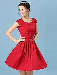 Mujer Línea A Vestido Noche Casual/Diario Simple Chic de Calle,Un Color Escote Redondo Sobre la rodilla Sin Mangas Rosa Rojo Poliéster