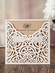 Flat Card Wedding Invitations 50-Invitation Cards Artistic Style Vintage Style Flora Style Card Paper Ribbons