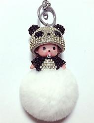 Dolls Key Chain Toys Leisure Hobby Black White Crystal