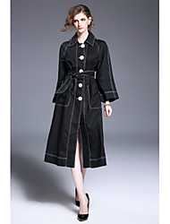 FRMZ Casual/Daily Work Simple Street chic Trench CoatSolid Shirt Collar Long Sleeve Winter Wash inside out Dry flat Linen Long
