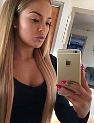 venta caliente 100% peruano pelucas del frente del cordón del pelo virgen SLIKY recta pelucas de pelo de color marrón medio gloden humanos