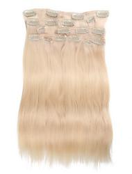 9pcs / set clipe de 120g de luxo em extensões do cabelo branquear o cabelo humano de 16 polegadas 20 polegadas 100% reta loira para as mulheres