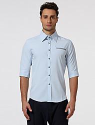 Masculino Camisa Social Casual Formal Trabalho SimplesSólido Algodão Colarinho de Camisa Meia Manga